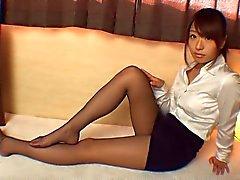 Asian Girl in calze di ultra puri