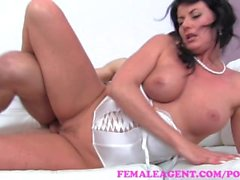 FemaleAgent. Sexy MILF agent desperately seeks for studs money shot