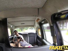 Fake Taxi Horny couple get it on in rear of cab