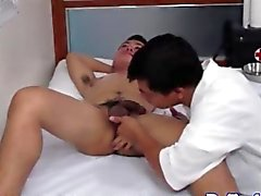 asian doctor sucking on a patients cock hard