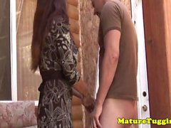 Handjob loving mature milf with monster boobs
