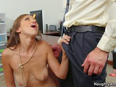 Guy fucks his boss slutty daughter Audrey Rose