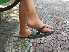 Compilation candid feet dangling in flats
