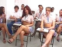 Hardcore with transsexual pupils during the lesson.