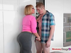 Busty mature stepmom jerks in trio with teen