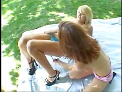 On the lawn, two young skinny chicks get their slits screwed by one man