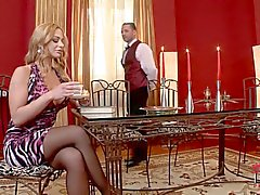 Cathy Heaven seduced by waiter