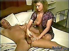This slut gives a handjob