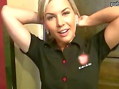 Pretty blonde cashier gets fucked in the coffee