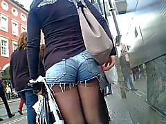 Shorty Shorts Hot Teen Ass at Bus Stop