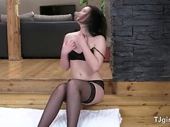 Hot Babe Daniela In Her Black Stockings