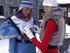 Busty lesbian Yvone plays with a lesbian