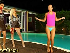 Fetish lesbos pee by pool