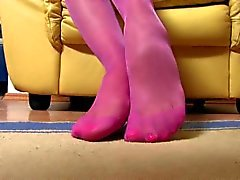 Janet pantyhose feet close