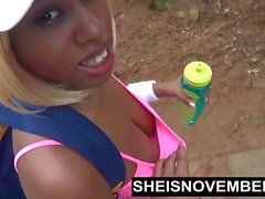Ebony Nudist Loves Flashing Big Tits & Round Butt In Public