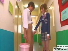 Naughty Japan teen schoolgirl gives handjob in hallway