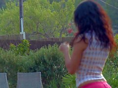 Sporty hotties Leo and Lily get naked outdoors
