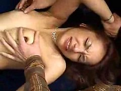 Slutty Oriental babe takes on a gang of hard dicks and gets