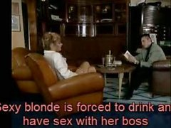 Sexy blonde is to drink and have sex with her boss