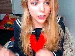 Hot blonde college slut masturbates on webcam