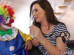 Cum guzzling british MILF fools with clown