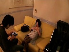 Pantyhosed Japanese beauty has a vibrator making her fiery
