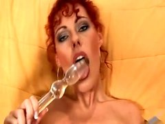 FIT redhead amateur plays with her toys