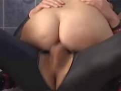 Latex-Fetish-Slut with Huge-Boobs fucked in Shower