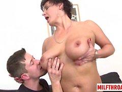 Big tits milf oral with cum on tits