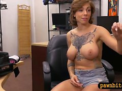Babe sells her tattoo gun and pounded by pawn keeper