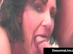 Super kuuma äiti Deauxma osoittaa meille Yksi hänen kuuma First Films!