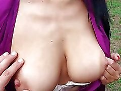 Two busty Eurobabes threesome in public
