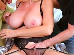 Big tits milf threesome and cumshot