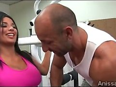 Big stacked Anissa Kate trains her pussy at the gym
