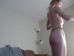 Skinny slim blond small tits hard nipples cameltoe pussy