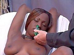Menina preta nova que já o seu bichano estendida com um espéculo após o jogo grampo