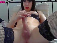 Huge cock Femboy stockings cumshot Cam