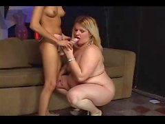 Horny chubby blonde fucked by her skinny girlfriend