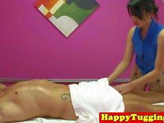 Oriental masseuse jerking client