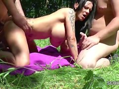 German Monster Tit MILF get fuck Outdoor by two Young Boys