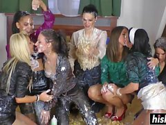 Beautiful girls have fun on the floor