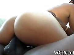 Chocolate woman stands doggystyle getting fucked so hard