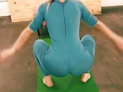 Bubble Butt Tiny Waist Teen Has Big Cameltoe In Lycra Bodysu