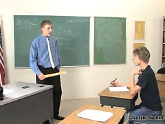 Angry teacher spank student and penetrate his tight ass for