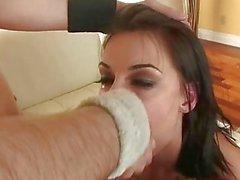 Sengenden Chayse Evans ausspuckt Sperma in dieser Huren Glaspostens