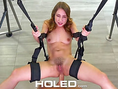 Taylor Sands receives fucked into ass on the sex swing