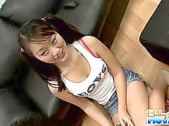 Naughty pigtailed babysitter Evelyn Ling gets caught having