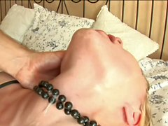 Teen slut Kylie licks man's asshole and gags on black