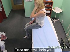 Sexy blonde fucking doctor in fake hospital