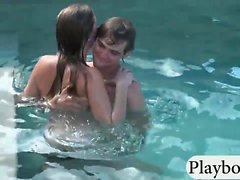 Tight women show off ass and fucked hard by the pool